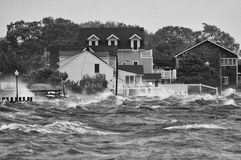 Stormy. Hurricane Irene on LI blowing up waves along the shoreline Stock Photos