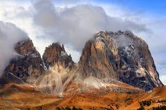 Stormy image of Sassolungo Group, South Tirol, Dolomites Mountains Royalty Free Stock Image