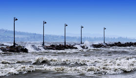Stormy Lake Balaton, Hungary Royalty Free Stock Photography