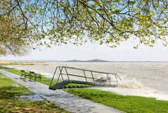 Stormy Lake Balaton (Szigliget) , Hungary Stock Photos