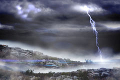 Stormy landscape with lightning bolt Royalty Free Stock Photo