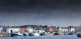 Stormy landscape of the main harbor in low tide, Guilvinec, Brit Stock Photography
