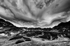 Stormy landscape in National Park Retezat Stock Images
