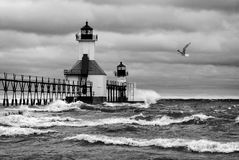 Stormy Lighthouse Stock Photography
