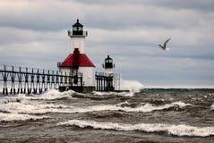 Stormy Lighthouse Stock Photography