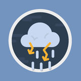Stormy with lighting weather forecast icon. Stormy with lighting, circular weather forecast icon in flat design style. Vector graphic element Stock Photography