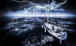 Stormy marina. With rough sea Stock Photography