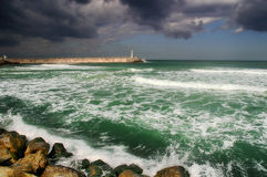 Stormy Mediterranean sea. View on beautiful stormy Mediterranean sea and cloudy sky in Israel Royalty Free Stock Images