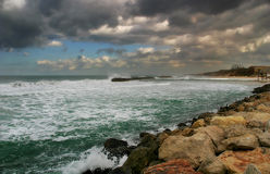 Stormy Mediterranean sea. View on beautiful stormy Mediterranean sea under cloudy sky in Israel Stock Photo