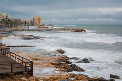 Stormy Mediterranean sea, city beach of Torrevieja Stock Photography