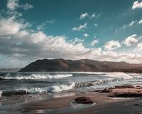 Stormy sea at Lozari beach after a storm in Corsica Royalty Free Stock Images