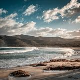 Stormy sea at Lozari beach after a storm in Corsica Royalty Free Stock Photo