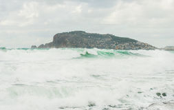 Stormy Mediterranean sea in winter in Alanya, Turkey Stock Image