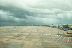 Stormy Melbourne airport airfield. Empty airfield at Melbourne airport Royalty Free Stock Images
