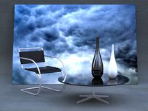 Stormy modern interior. Studio shot of modern, minimalist designer furniture with expressionist sky picture as background Stock Photo