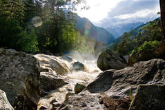 Stormy mountain river in the sun Royalty Free Stock Image