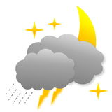 Stormy night as weather icon Royalty Free Stock Photography
