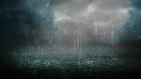 Stormy night on asphalt 4K. Features rain falling down on asphalt in a foggy stormy atmosphere stock video footage