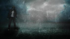 Stormy night on asphalt with zombie 4K. Features an animated Zombie standing out in the rain on asphalt in a foggy atmosphere stock footage