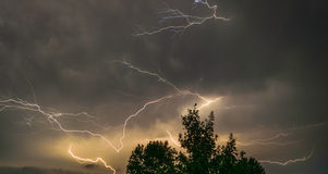 Stormy night in Kentucky endless flashes of lightning Stock Images