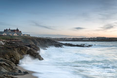 Stormy Night in Newquay. Stormy night looking out over Fistral beach from cliffs at Nequay in Cornwall royalty free stock photography