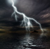 Stormy ocean. Dark stormy clouds over the ocean Stock Photos