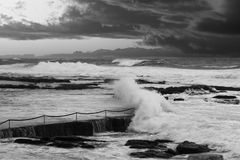 Stormy ocean and darks clouds Royalty Free Stock Photo