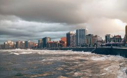 Stormy ocean in Gijon Royalty Free Stock Image