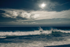 Stormy ocean with rainy clouds Royalty Free Stock Photos