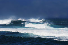 Stormy ocean waves. Heavy storm-generated waves off the coast of Maui, Hawaii Stock Images