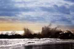Stormy ocean waves, beautiful seascape, big powerful tide in act Stock Images