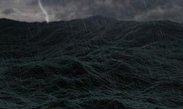 Stormy ocean, waves on rough sea or stormy ocean water, with thunders and lightnings and cloudy Stock Photography