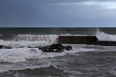 Stormy pier Royalty Free Stock Photo