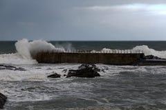 Stormy pier Stock Photos
