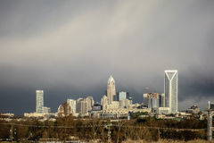 Stormy rain clouds over charlotte north carolina skyline Stock Images