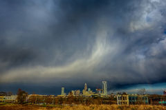 Stormy rain clouds over charlotte north carolina skyline Royalty Free Stock Images