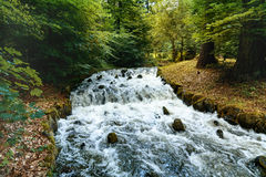 Stormy River connects the cascades of Bergpark Wilhelmshoehe. Landscape park in Kassel, Germany. The largest European hillside park. Travel photo Royalty Free Stock Image