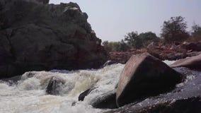 Stormy river in India. Hampi Karnataka India march 28 2019: Tungabhadra River stock video