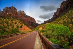 Free Stormy Road Through Zion, Zion National Park, Utah Royalty Free Stock Image - 184664026
