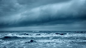 Stormy Rough Sea. Dramatic Dark Sky Cloudscape. Stormy Rough Sea before Thunder. Cold Gray Ocean. Dramatic Dark Sky with Thundery Clouds. Epic Storm Cloudscape stock footage