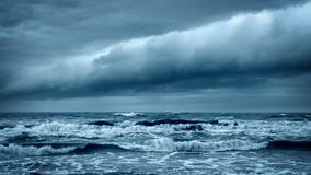 Stormy Rough Sea. Dramatic Dark Sky Cloudscape. Stormy Rough Sea before Thunder. Cold Gray Ocean. Dramatic Dark Sky with Thundery Clouds. Epic Storm Cloudscape stock video footage