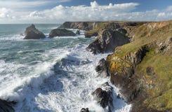 Stormy rugged coastline, Kynance Cove, Cornwall royalty free stock photo