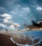 Stormy Sea. The Man and the Sea Royalty Free Stock Image