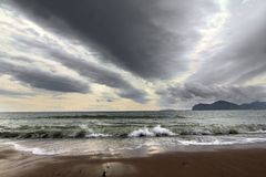 Stormy sea. View of dramatic sky and stormy sea, Ukraine Royalty Free Stock Photos