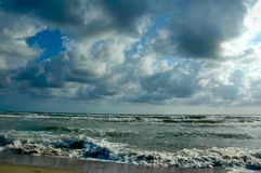 Stormy sea. Stormy weather at seaside in summer Royalty Free Stock Images