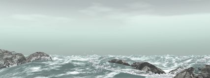 Stormy sea. Panorama of stormy sea royalty free illustration