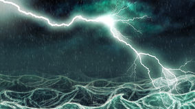 Stormy sea. Active thundershower over the sea digital illustration Stock Photo