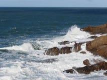 Stormy sea along Tuscany coastline in Livorno, Italy Royalty Free Stock Photography