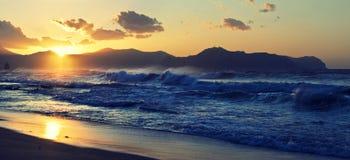 Stormy sea at Aspra. Royalty Free Stock Photo