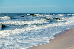 Stormy sea beach. Stormy baltic sea beach with waves under sunlight royalty free stock image